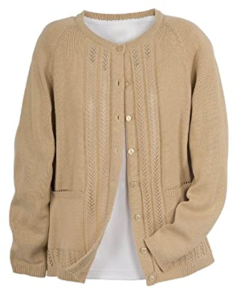 National Classic Cardigan Sweater, Beige, Small