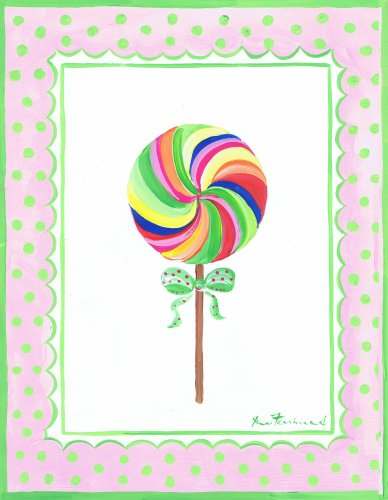 The Kids Room by Stupell Rainbow Lollipop with Green Bow Rectangle Wall Plaque