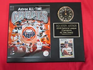 Houston Astros All Time Greats Collectors Clock Plaque w 8x10 Photo and Card by J & C Baseball Clubhouse