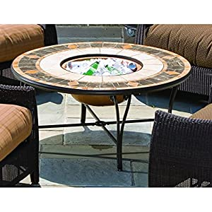 Alfresco Home Compass Mosaic Fire Pit and Beverage Cooler Table