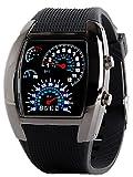 スピード メーター風 デジタル 腕時計 LED タコメーター ファッション メンズ ウォッチ ブラック 黒 A007
