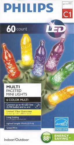 Philips 60 Count Multi-Faceted Indoor/Outdoor Led Christmas String Mini Lights, C1 - 6 Colors