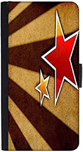 Snoogg Star Fan Art Graphic Snap On Hard Back Leather + Pc Flip Cover Htc M8