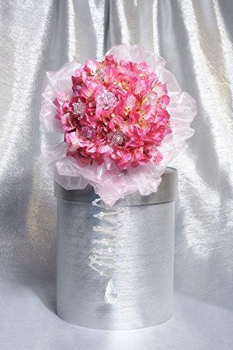 materashop.it - Bouquet per Sposa Ortensia Rosa 9 fiori Swarovski, Matrimonio,Gioiello