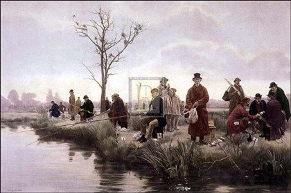 Picture of Framed Art Pictures Pegged-Down Fishing Match Pm by Sonia Sadler 36x27 (B0040NXVG8) (Pegged Puzzles)