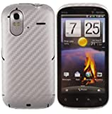 Skinomi TechSkin - Silver Carbon Fiber Film Shield & Screen Protector for HTC Amaze 4G + Lifetime Warranty