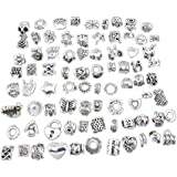 80 pcs HIgh Quality Mix Antique Silver Plated Oxidized Metal Beads Charms Set Mix Lot - Compatible with Pandora Biagi Troll Chamilia Bracelets w/ Blue Organza Pouch
