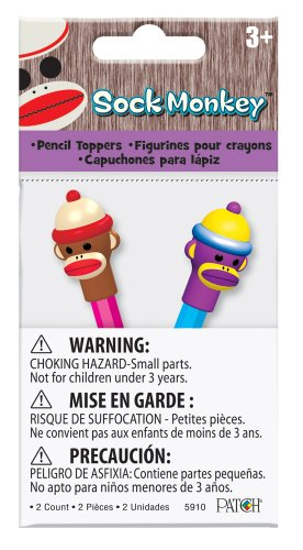 Patch Products Sock Monkey Pencil Toppers, 2-Pack