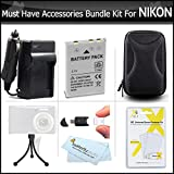 Must Have Accessories Kit For Nikon Coolpix S9900, S9500, S800c, S6300 S6200 S8200 S1200pj S9100 S9300 P330 P340 S9200, AW120, AW130, S9700 Includes Replacement EN-EL12 Battery + Charger + Case + More