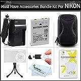 Must Have Accessories Kit For Nikon Coolpix S9900, S9500, S800c, S6300 S6200 S8200 S1200pj S9100 S9300 P330 P340 S9200, AW120, AW130, S9700 Includes Replacement EN-EL12 Battery + Charger + Case + More