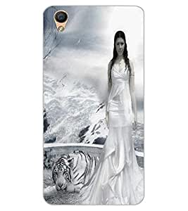 ColourCraft Girl with Tiger Design Back Case Cover for OPPO F1 PLUS
