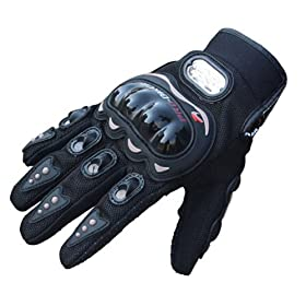 Towall Black Short Sports Leather Motorcycle Motorbike Summer Gloves (L)