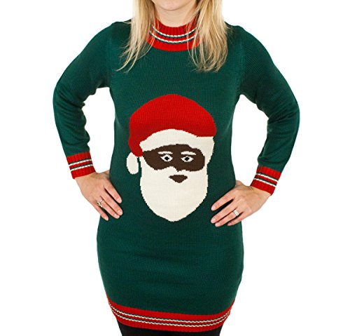 Black Santa Clause Holiday Sweater Dress