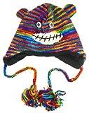 Rainbow Striped Monkey Pilot Cap W/ Pom Poms