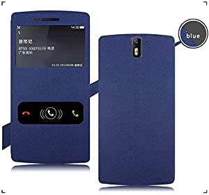 Plastron Premium Luxury PU Leather Flip Stand Back Case Cover For OnePlus One 4G - BLUE Colour