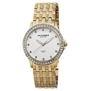 Akribos XXIV Women's AK620YG Lady Diamond Swiss Quartz Diamond and Crystal Gold-tone Stainless Steel Bracelet Watch