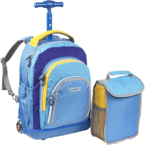 d0bed44ed4da Buy J World Lollipop Kids Rolling Backpack with Lunch Bag (Kids ages 3-7)  (Neon Now