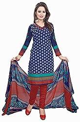 Fabgruh Presents Crepe Dress Material(Dark Blue,Multi)