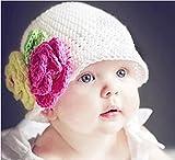 【Momo´s fashion shop for baby】 ベビー 用 ニット帽 【 ヘアバンド 付 】 赤ちゃん 新生児 お宮参り 初詣 お正月 (ホワイト, フリー)