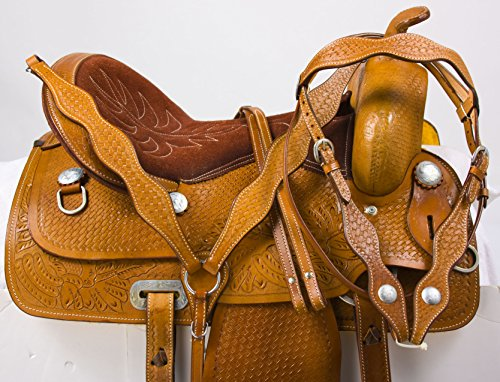 "TOOLED COMFORTABLE WESTERN PLEASURE TRAIL HORSE LEATHER SADDLE TACK BRIDLE BREAST COLLAR 15 16 17 (17"")"
