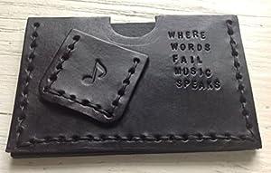 Credit Card Case Guitar Plectrum / Pick Holder - Personalised Custom Handmade lack Leather
