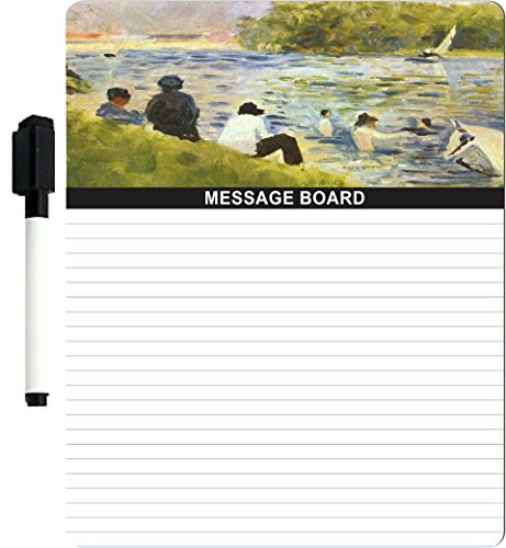 "Rikki Knighttm Georges-Pierre Seurat Art Bathing With White Horse In The River Design 8"" X 10"" X 1/8 Hardboard Dry Erase Message Board With Magnet Strips On Back (Black Marker Included) front-627483"