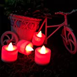 LED Tea Light Festive Electronic Candles Lamp Home Indoor Candlelit (Color: Red)