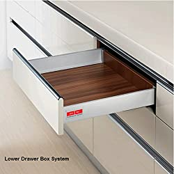 Drawer Box System Lower Square Rail concealed full extn. Tool Free Assembly & Removal Hydraulic Silent Soft Closing Up Down Left Right adjustments 40Kg Dynamic Load Capacity Silver Grey Finish 500mm Length 20IN