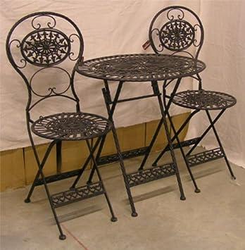 Arte Nouveau Muebles de jardín Conjunto Viejo Negro - 1 mesa, 2 sillas - Hierro