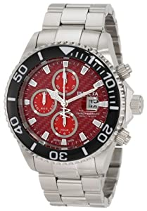 Invicta Men's 1070 Reserve Automatic Chronograph Red Dial Stainless Steel Watch