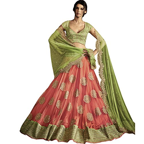 Vasu Saree Peach & Light Green Color Net Lehenga Choli With Embroidery Work  available at amazon for Rs.9676