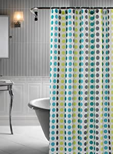 Polka 14 Piece Shower Curtain Set In Turquoise Lime And Grey