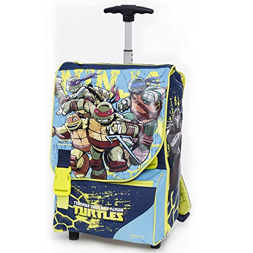 Giochi Preziosi - Tartarughe Ninja Zaino Trolley Scuola Estensibile con il Pugnale di Raffaello in Omaggio