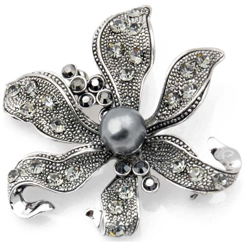 Vintage Style Black Flower Pearl Pin Brooch and