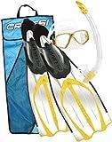 Cressi Kids Pluma Bag Mask, Fins and Snorkel Set - Clear / Yellow, 1/2