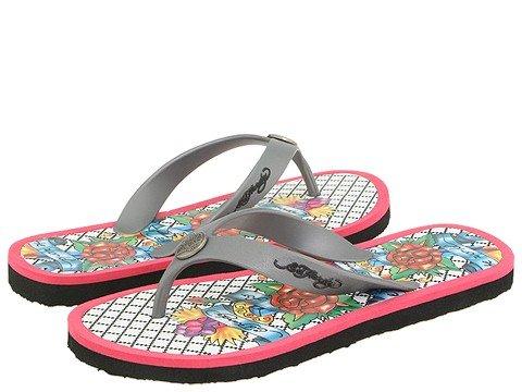 1002244f9659 Ed Hardy Beachcomber Silver Fuschia Flip Flop Sandals - Ed Hardy ...