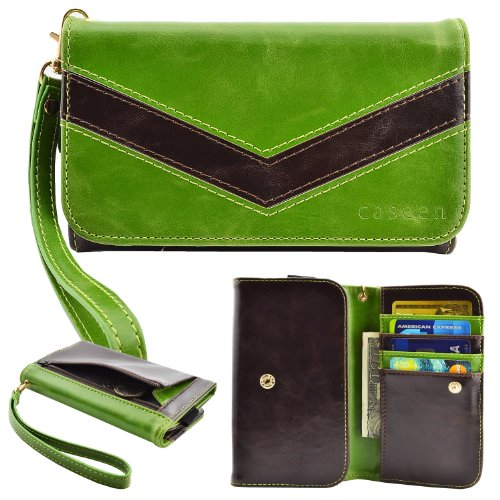 caseen ViVi Women's Smartphone Wallet Clutch Wristlet Case (Green/Black) for Apple iPhone 6 Plus, Samsung Galaxy Note 4 / Edge / 3 / 2 / II, Google Nexus 6, Galaxy S5 Active, HTC One M8, Sony Xperia Z3 / Z2 / Z1, LG G3 / G Pro 2 / Intuition, ASUS PadFone X [Up to 6.25 x 3.5 Inch Smartphones] – Large Size