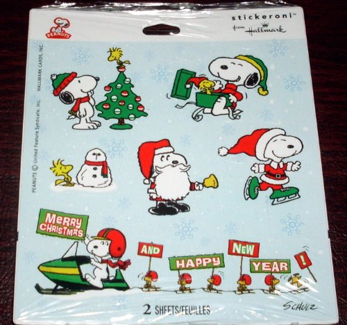 6 Peanuts Christmas Stickers