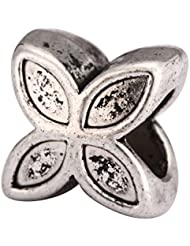 5 X 4-Clove Flower Charms Beads Antique Silver Tone Fits Pandora Biagi Troll Chamilla Other European Charm Bracelet...