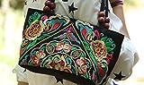 レディース ハンドバッグ 刺繍 トートバッグ エスニック スタイル カジュアル レトロ キャンバスバッグ ショルダー 財布 (Colour4)