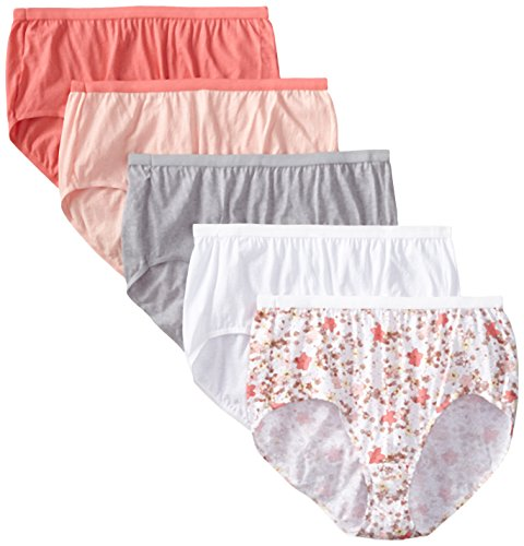 Just My Size Women's 5 Pack Cotton Brief Color Panty, Assorted, 10