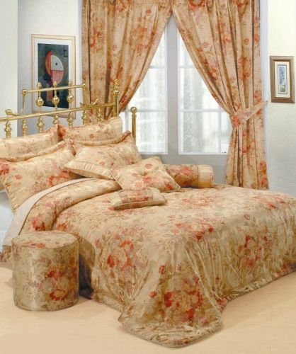 Designer Double Bed Luxury Jacquard Gold Red Bedspread Set- Anastacia Modern Embroided Embellished Quilted