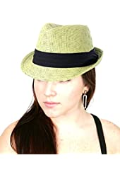 NYfashion101 Women's Paper Woven Straw Fedora Hat w/ 3 Tier Band