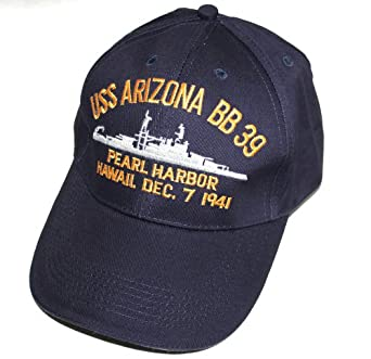 Embroidered USS Arizona Battle Ship, Pearl Harbor Hawaii, Dec. 7 1941 cap hat, Navy