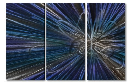 Blue Electron Ray IV Huge Modern Wall Decor by Ash Carl, Metal Wall Sculpture, Abstract Wall Art