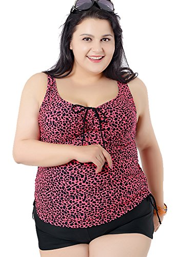 Women's Plus Size Leopard Printed 2 Pieces Tankini Top & Boyshorts Swimsuits Rose Red 2XL