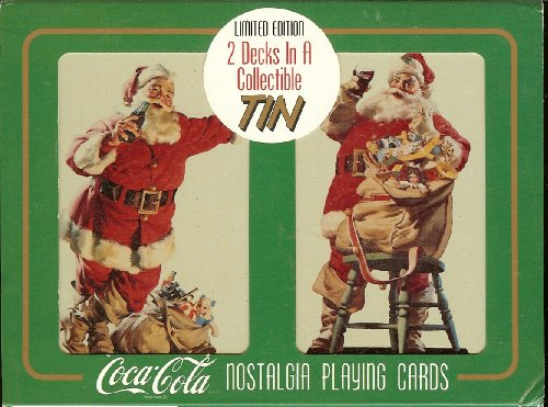 1994 Limited Edition Coca-Cola Nostalgia Christmas Santa Playing Cards in Collectible Tin - 1