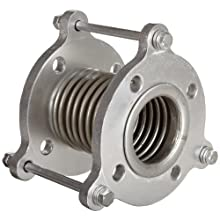 "Flexicraft Stainless Steel Bellows Connector Expansion Joint with #150 Floating Flange and Tie Rod, 3"" ID x 6"" Length"