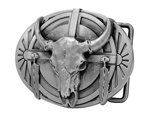 Buckle Rage Mens Native American Ceremonial Buffalo Skull Belt Buckle Silver