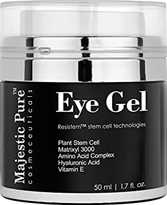 Eye Gel From Majestic Pure Offers Potent Anti Aging & Skin Firming Gel Cream For Dark Circle Eyes, Wrinkles, Eye Puffiness & Loss of Tone and Resilience, 1.7 fl. oz.
